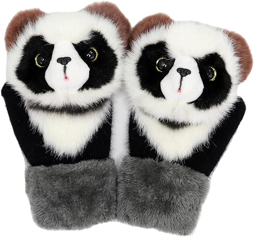 kids Fleece gloves winter with warm Unisex Plush mittens gloves fox owl Cartoon Animal cat Gloves for Women Girls Boys Casual