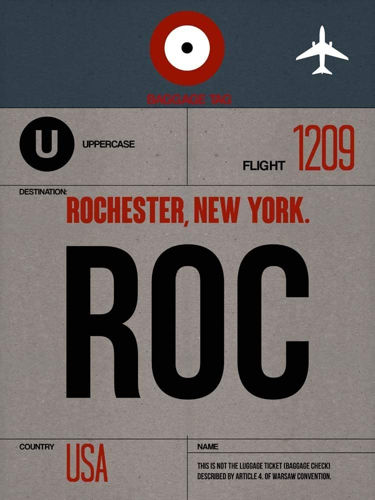 ROC Rochester Luggage Tag I by Naxart inches Art Max 84% OFF x 24 Print 18 Sale