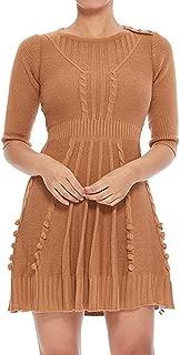 Women's 3/4 Sleeve Crewneck Lovely Pompom Cabel Knit Sweater Midi Dress