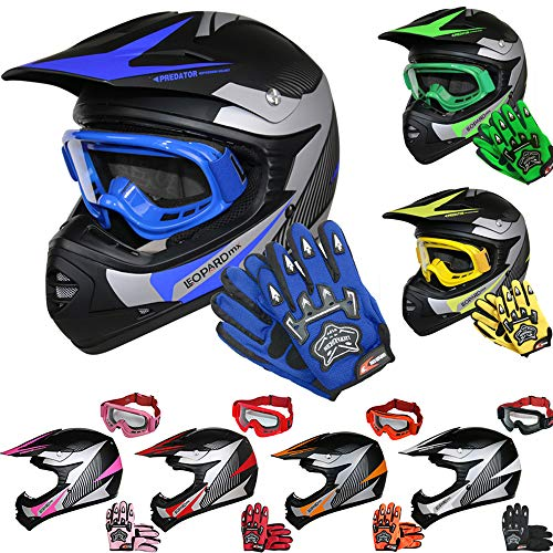Leopard LEO-X19 Kinder Motocross MX Helm { Motorradhelm + Handschuhe + Brille} Blau S (49-50cm) ECE Genehmigt Crosshelm Kinderquad Off Road Enduro Sport
