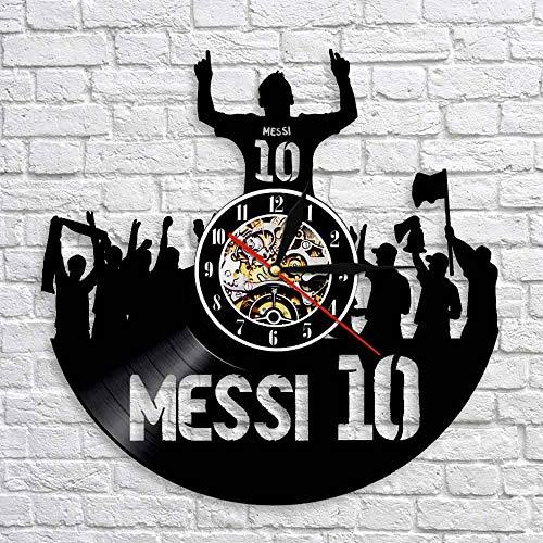 LED de colores Movimiento de reloj de pared de vinilo Rey famoso jugador de fútbol estrella reloj de vinilo fanáticos de Messi regalo de leyenda de fútbol imparable