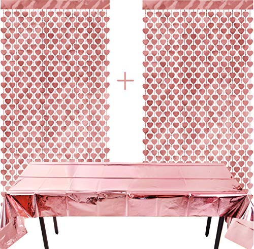 Juego 2 cortinas oro rosa forma corazón 1 funda papel