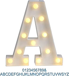 Ogrmar Decorative Led Light Up Number Letters, White Plastic Marquee Number Lights Sign Party Wedding Decor Battery Operated (A)