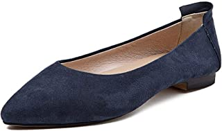 BLUMEN Women Flat Shoes Slip On Extremely Soft Navy Leather
