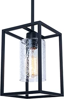 Vintage Glass Pendant Light, Single Light Metal Wire Cage Hanging Pendant Lighting, Black with Clear Seeded Glass Shade Classic for Farmhouse, Entryway, Dining Room, Kitchen Island, Foyer