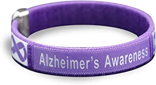 Alzheimer's Awareness Purple Ribbon Bracelet (01 Bracelet, Alzheimer's Bangle Bracelets)