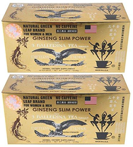Ginseng Slim Power 3 Ballerina Tea - Herbal Dietary Supplement - Lot of 2