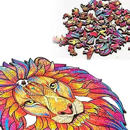 Cada Pieza Tiene Forma de Animal Rosh Rompecabezas Juguete de Animales de Madera Leon Puzzle