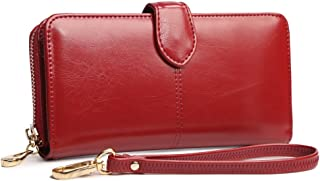 Tinksky Classic Leather Clutch Wallet for Women Ladies Party Evening Supply (Wine Red)