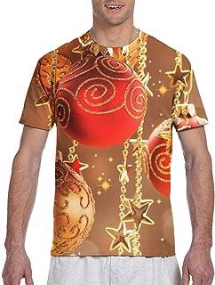 Camiseta de Manga Corta con Cuello Redondo de poliéster y Adornos navideños