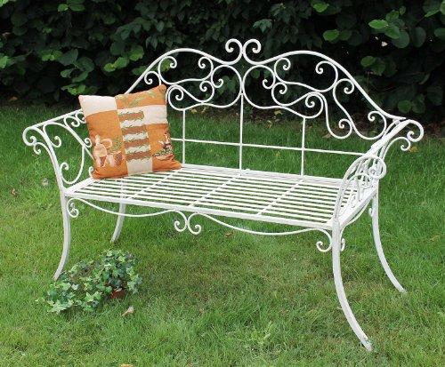 DanDiBo Gartenbank Romance Weiß 111183 Bank 146 cm aus Schmiedeeisen Metall Sitzbank - 2