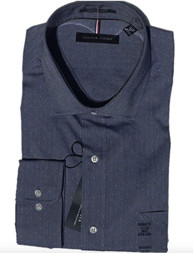 Tommy Hilfiger Mens Non Iron Regular Fit Spread Collar Dress Shirt (XL 15-15.5X32/33, Dress Blue Micro Diamond)