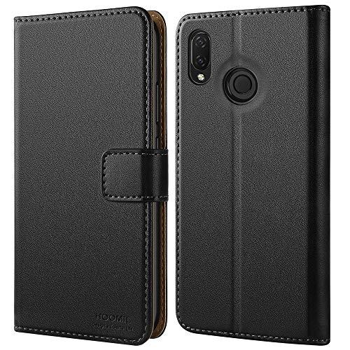 HOOMIL Handyhülle für Huawei P Smart Plus Hülle, Premium Leder Flip Schutzhülle für Huawei P Smart Plus Tasche, Schwarz