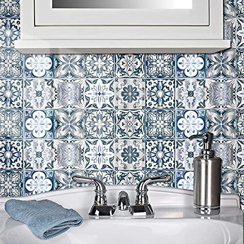 Pegatinas de azulejos para cuarto de baño y cocina, 20 piezas autoadhesivas de Mosaico, azulejos de pared, impermeable, papel de azulejos, bricolaje para decoración del hogar (20 x 20 cm)