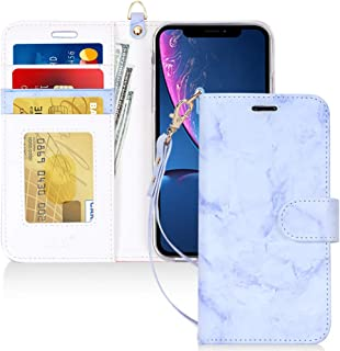 """FYY Luxury PU Leather Wallet Case for iPhone Xr (6.1"""") 2018, [Kickstand Feature] Flip Folio Case Cover with [Card Slots] a..."""