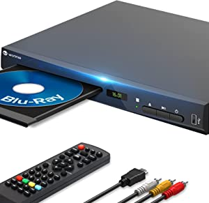 WONNIE Blu-Ray DVD Player for TV, HD 1080P Players with HDMI/AV/Coaxial/USB Ports, Supports All DVDs and Region A/1 Blue Ray, Built-in PAL/NTSC System, Includes HDMI/AV Cable and Remote Control