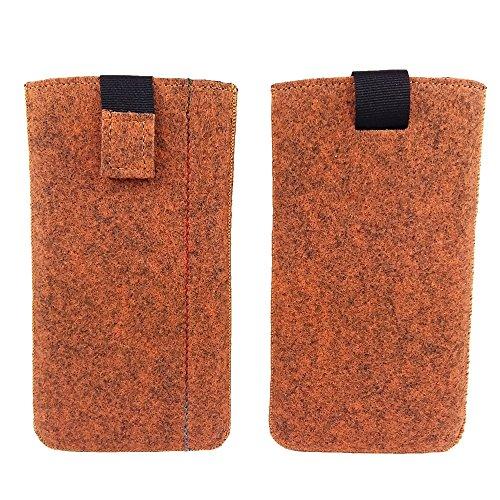 handy-point 5,0'' Filztasche Tasche Hülle aus Filz für Samsung, iPhone, Sony, Lenovo Moto, Huawei, Alcatel, Gigaset, Medion, Neffos, Geräte mit Max.14,2x7,3xx1cm (Melange Orange)