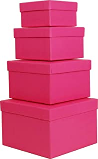Cypress Lane Square Rigid Gift Box for Girl, a Nested Set of 4, 3.5x3.5x2 to 6x6x4 inches (Pink)