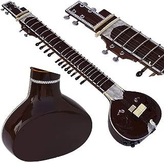 Sitar- Designer Tun Wood, Vilayat Khan Style- 6 Main String, 12 to 13 Sympathetic Strings, Flat Back, Traveler Model, Gig Bag, Extra Strings, Few Mizrabs, Pick-Up Easy To Connect with Guitar Amplifier