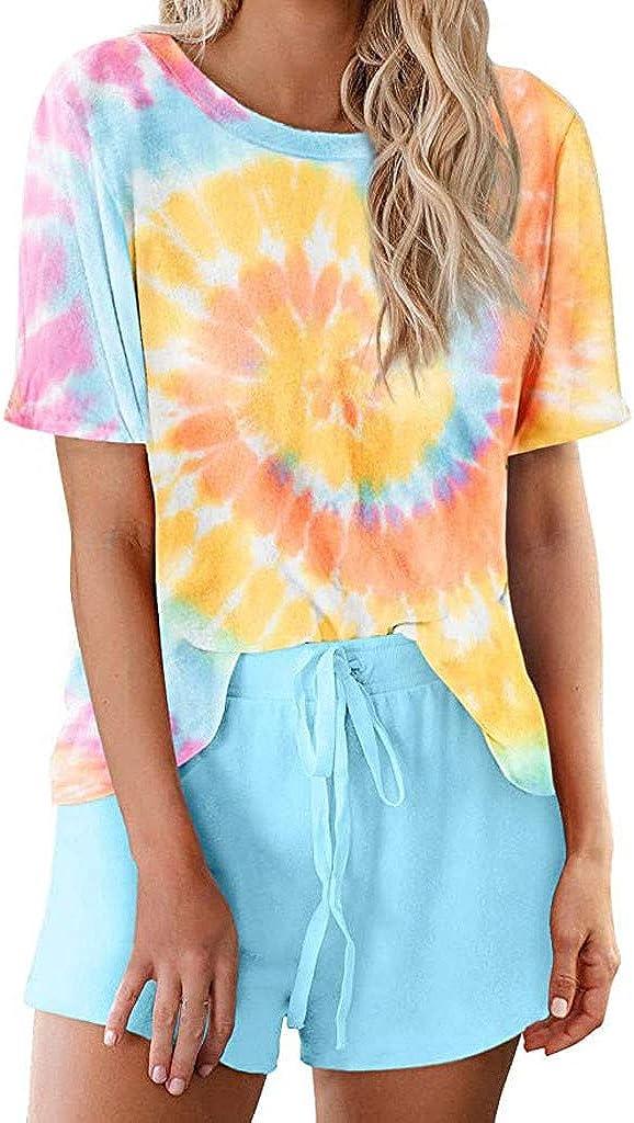 Loungewear for Women Tie Dye,Womens Tie Dye Pajama Sets Short Sleeve Tee Tops and Short PJ Set Loungewear Nightwear