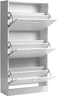 SOSTUDIO Banc à chaussures en bois avec coussin de siège (blanc, 3 tiroirs)