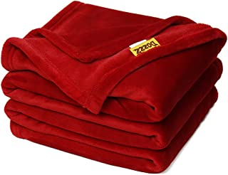 DOZZZ Oversize Flannel Throw Blanket with Cozy Plush Soft Cover for Sofa Chair and Bed Furniture Gift Red