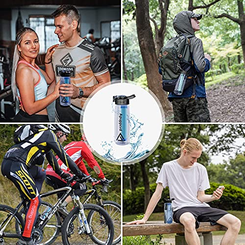 Apuppcvd Water Bottle with Filter, Emergency Filtered Water Bottle for Travel, Camping, Hiking, Climbing, Bicycling, Backpacking and Daily Use, Water Filter Bottle, BPA Free and Leakproof