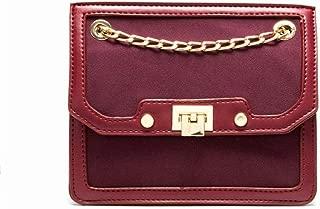 Fashion Women's Chain Small Square Bag PU Handbag Solid Color Scrub Leather Lock Messenger Bag Crossbody Bag Shoulder Bag (Color : Red)