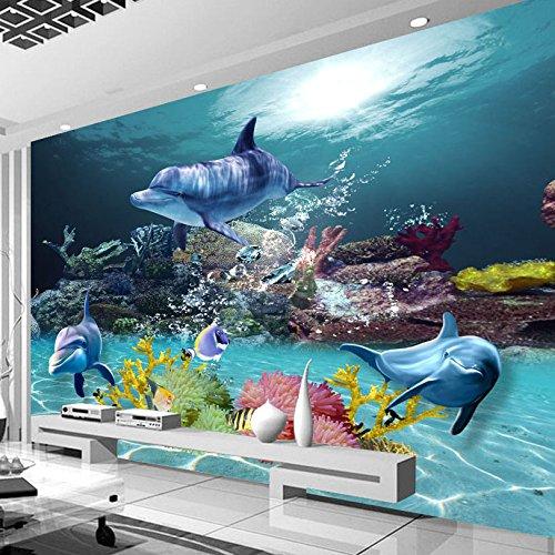 Fotobehang, behang, karikatuur-dolfijn-foto-wandschilderij, woonkamer, televisiebank, wanddecoratie, niet-geweven 3D-behang, 350x245cm