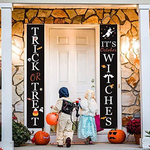 LZCY Halloween Decorations Outdoor   Trick or Treat Halloween Signs for Front Door or Indoor Home Decor   Porch Decorations   Halloween Welcome Signs