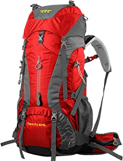 Outdoor Backpack Mountaineering Bag Shoulders Men and Women Travel Hiking Bag 60+5L Large Capacity Waterproof QYLOZ (Color : Red)
