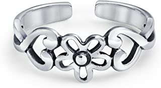 Flowers And Heart Craved Swirl Cut Out Filigree Midi Band Toe Ring For Women 925 Silver Sterling Mid Finger Adjustable