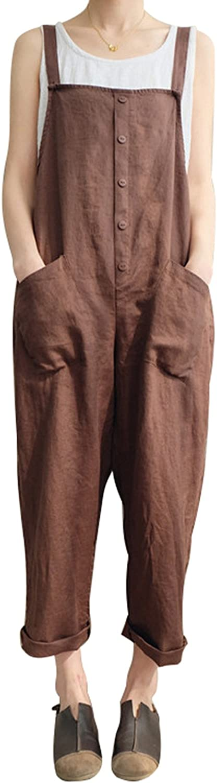 UK Women Retro Cotton Dungarees Jumpsuits Ladies Loose Playsuit Overalls Pants