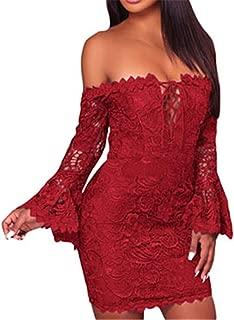 Cyose Trendy Lace Crochet Off Shoulder Fitted Mini Dress Slash Neck Deep V Cut Lace Up Flare Long Sleeve Party Dresses