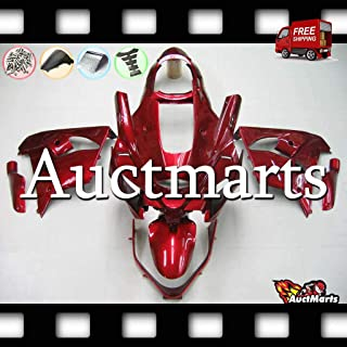 Auctmarts Fairing Kit ABS Plastics Bodywork with FREE Bolt Kit for Kawasaki ZX9R ZX-9R 2000 2001 Gloss Red Burgundy (P/N:3c17)