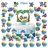 25Pcs Lilo and Stitc_h Happy Birthday Party Supplies Cake Toppers Cupcake Decorations for Kids