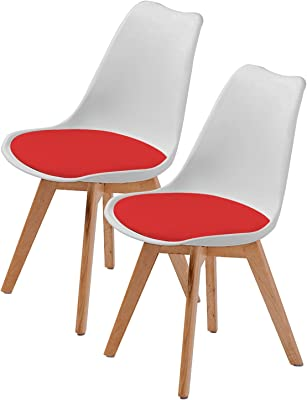 La Bella Replica Eames PU Padded Dining Chair - White & Red X2