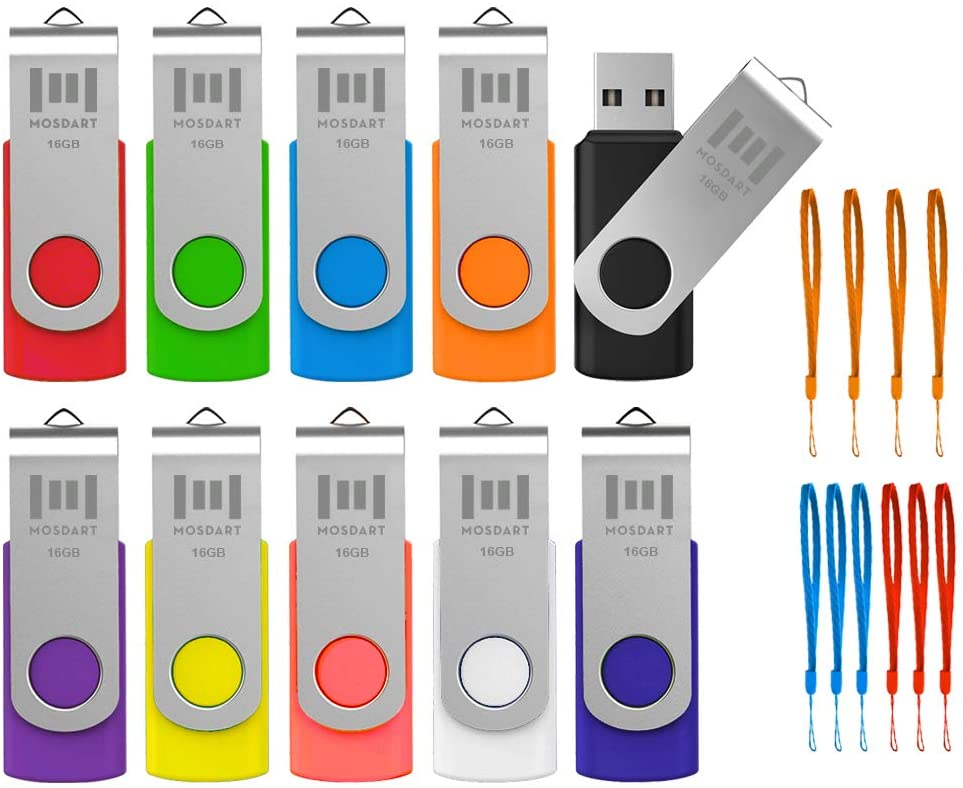 MOSDART 16GB USB Flash Drive 10 Pack Multicolor with Lanyards 16 GB Bulk Thumb Drive Memory Stick Swivel Jump Drive with LED Light for Data Storage