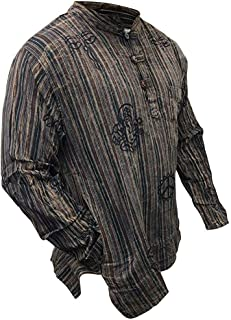 SHOPOHOLIC FASHION Mens Stonewashed Striped Grandad Shirt