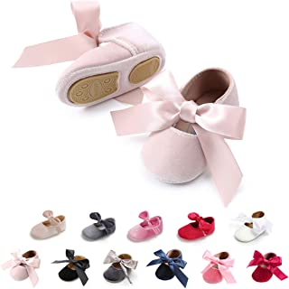 Infant Baby Girls Mary Jane Shoes Soft Sole Ballet Slippers with Bow Princess Dress Wedding Shoes Newborn Crib Shoes First Walkers Shoes