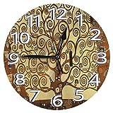 時計 壁掛け時計アナログクロックインテリア円形 静音 グスタフ・クリムト生命の木ストクレット・フリーズオーストリアのアールヌーボー絵画壁画巨人 印刷 ラットフェイス 家寝室居間 直径30cm 部屋装飾