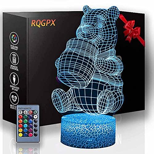 3D Night Light Winnie The Pooh Lámparas de estado de ánimo y 16 cambio de color lámpara de decoración con control remoto para sala de estar, bar, mejor regalo juguetes