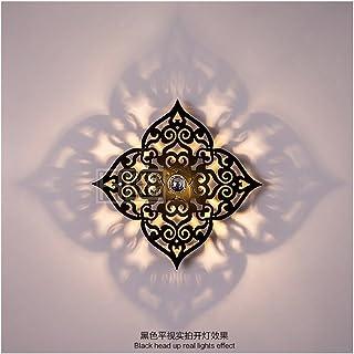 YU-K - Moderna lámpara de pared para dormitorio, decoración, lámpara de noche, dormitorio, ventana, rejilla de radiador negra (43 cm)