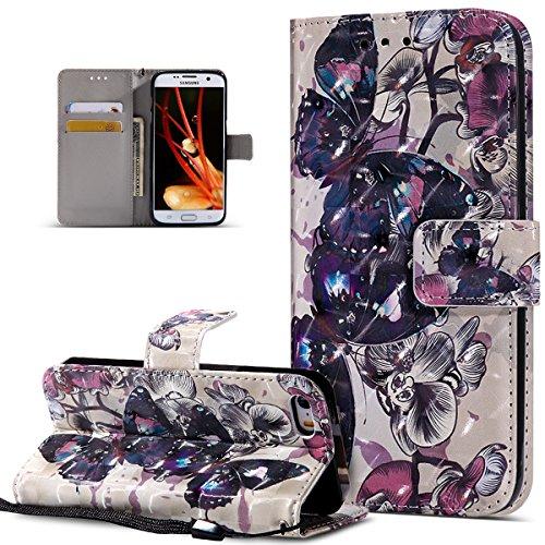 ikasus Coque iPhone SE 5S 5 Etui,Modèle de papillon peint en 3D coloré Housse Cuir PU Housse Etui Coque Portefeuille supporter Flip Case Etui Housse Coque pour iPhone SE 5S 5,Fleur de papillon noir