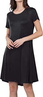 JOUDOO Women's Summer Beach Casual Dress Solid Color with Pocket Loose Ruffled Hemt