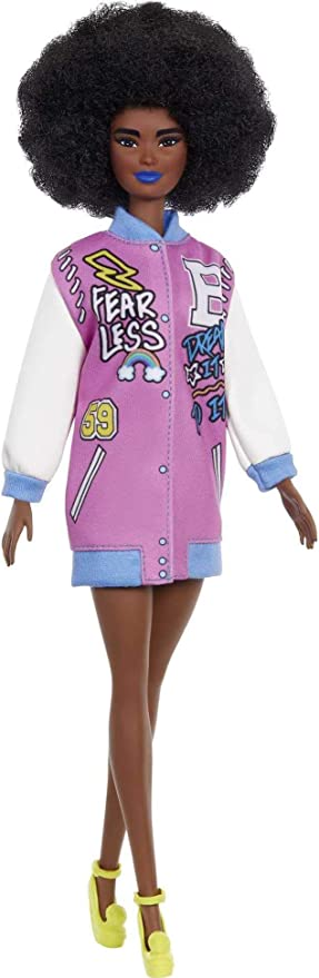 Barbie Fashionistas Doll #156 with Brunette Afro & Blue Lips Wearing Graphic Coat Dress & Yellow Shoes, Toy for Kids 3 to 8 Years Old