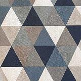 Stoff Meterware Baumwolle Dreieck blau grau jeans natur