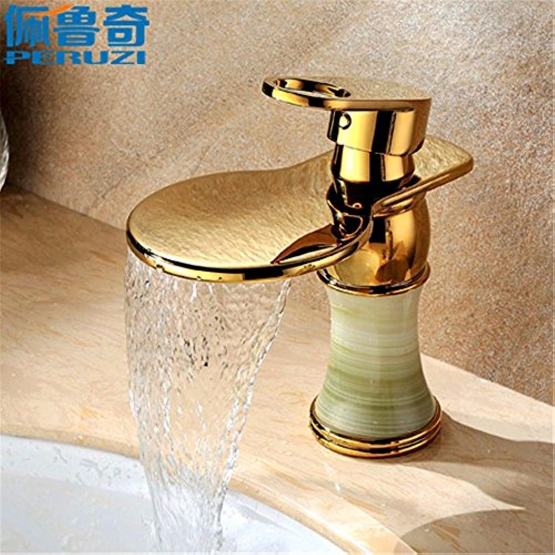 NewBorn Faucet Wasserhhne Warmes und Kaltes Wasser groe Qualitt Natürliche Jade Wasserfall Wasser warm und kalt Messing antik Gold Tabelle Wasserhahn