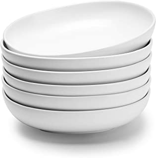 Teocera Porcelain Salad Pasta Bowls - 24 Ounce - Wide and Shallow, Set of 6, Matte White