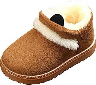 Baby Boys Girls Winter Boots Warm Faux Fur Anti-Skid Soft Toddler Indoor Snow Boots Plush Shoes